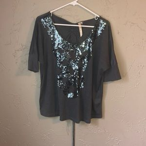 Andree sequined top with drawstring in back